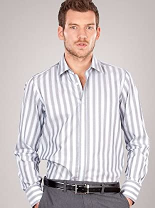 Hugo Boss Camisa Raya Ancha (blanco)