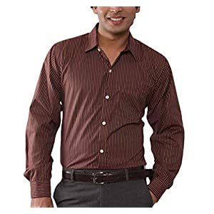 John Carry Brown Striped Men Formal Shirt JCS 16