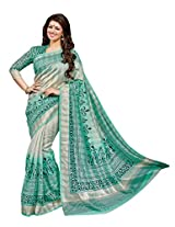 Turquoise Colour Faux Bhagalpuri Semi Party Wear Shiny Geometric Printed Saree 13321