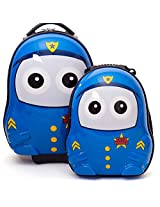 House of Quirk New Hardshell Travel Trolley bag and school Bag 2in1 Cutie Bags For Kids - Police