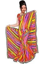 Kala Sanskruti Chiffon And Art Silk Bandhej Design Saree With Work [KSA3XI-44_Multi]