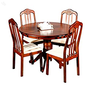 Evok Dining Table Set with Four Chairs - Helena Honey Brown Finish