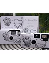 10 Pack Antique Silver Hearts Wedding Disposable 35mm Cameras in Gift Boxes with Matching Tents 27 Exp.
