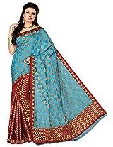 Aadarshini Women's Raw Silk Saree (110000000244, Maroon & Blue)