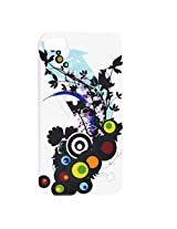 Dots Circles Flower Print IMD Hard Plastic Back Case Cover White for iPhone 4 4G 4S