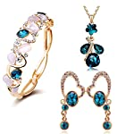 Crystal Pendant Necklace Set, Bangle Bracelet Earrings