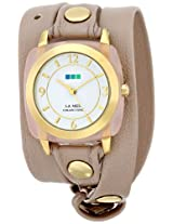 La Mer Collections Women's LMACETATE003 Gold-Tone Stainless Steel Watch with Beige Leather Band