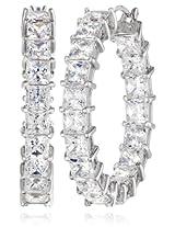 """Platinum Plated Sterling Silver Swarovski Zirconia 1"""" Princess Hoop Earrings"""