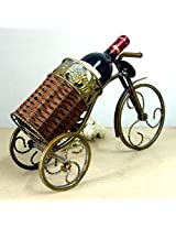 Fashion Vintage Wrought Iron Art and Vine Knitting Tricycle Model Wine Rack Decorative Metal Bottle Holder Bar Accessories Craft
