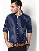Striped Navy Blue Casual Shirt Mufti