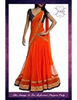 Nairiti Fashions Indian Designer Replica Orange Colour Net Fabric Party & Wedding Wear Bridal Lehenga Choli