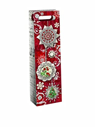 Punch Studio Set of 6 Wine Gift Bags (Silver Shimmer)