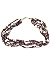 925-Silver Garnet,Pearl Princess Gemstone Necklace For Women 11595