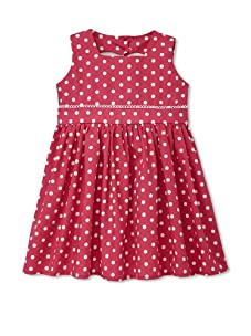 Noa Lily Girl's Dot Heart Cut Out Back Cotton Dress (Hot Pink)