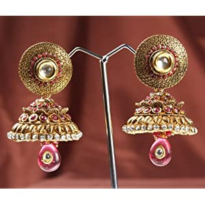 Maroon Color Jhumki With Ruby And White Stone 16