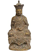 Japanese Buddha with Five Dhayni Buddhas Crown - Brass Statue