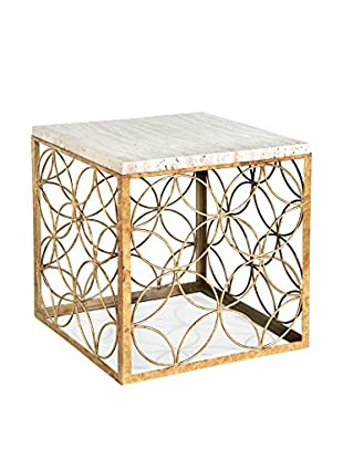 Home Philosophy Gold Leaf Cube Table with Travertine Top