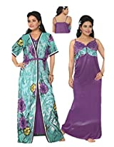 Indiatrendzs Women's Nighties Sexy Satin Hot Nighty Nightgown 2pc Set -Freesize
