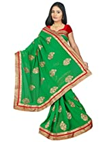 Chinco Embroidered Saree With Blouse Piece (1203-A_Green)