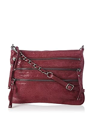 Chez by Cheryl Women's Lucia Zipper Cross-Body, Bordeaux Lizard