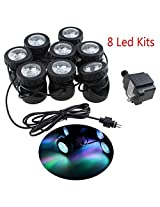 AGPtek 20W 850Mah Underwater Fountain/ Fish Pond/ Swimming Pool/Water Garden Pond Lights Great for Christmas, Party, Celebration Occasions (8 LED Kits)