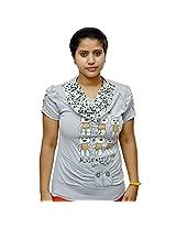 Odishabazaar Women's Cotton Grey White T-shirt S