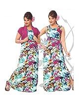 Indiatrendzs Women's Cotton Nighty Multicolored 2pc Set Sexy Sleepwear -Freesize