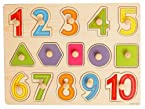 Wooden Puzzle with Pegs - Numbers & Shapes