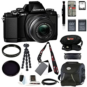 Olympus OM-D E-M10 Mirrorless Micro Four Thirds Digital Camera with 14-42mm Lens (Black) with 64GB Deluxe Accessory Kit
