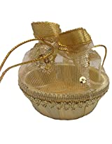 Decorative basket, hand crafted with net(size 9 -9-5 centimeters) elegant design for storage, gifting and home use