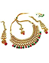 Divinique Jewelry Charming bridal kundan Necklace set with maang tikka