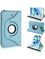 AE 360 Rotating PU Leather Stand Case For Samsung Galaxy Tab3 7.0 P3200 Light Blue