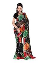 Jai Maa Ambey Creation Women's Georgette Saree (Black)