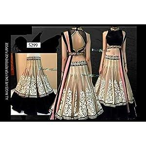 Indian Designer Party Wear Lehenga Ethnic Net Cream Embroidered Lehengha