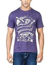 Zovi Cotton Anaconda Purple Melange Graphic T-shirt 113317066010L