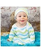 Woombie Indian Cotton Gowns Plus Hat, Aqua/Lime Chevron, 7-15 Pounds