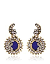 Alloy Earring With Blue Colour Stone
