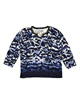 San Antonio Onbre Animal Print Sweater in Navy By Alfred Dunner (L)