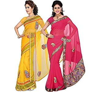 Ishin Combo of 2 Tissue Net And Chiffon Saree