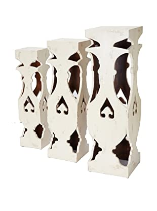 GuildMaster Set of 3 Clove Pedestals, Off-White