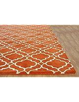 Riyana Moroccan Scroll Tile Handmade Wool Area Rug Carpet - Orange, 5' x 8'
