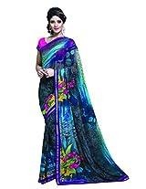 Admyrin Multi Colour Printed Saree with Blouse Piece