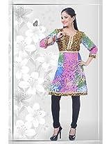 Georgette Blue Stitched Floral Print Kurti - 12-4685KT196316 - 38