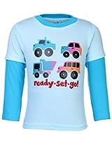 Babyhug Doctor Sleeves T-Shirt - Aqua Blue