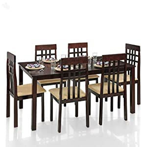Dining Table Set with 6 Chairs Solid Wood - Grid