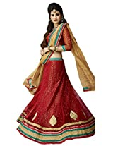 Melluha Red Net Embroidered Booti and Border work Lehenga with Chiffon Dupatta
