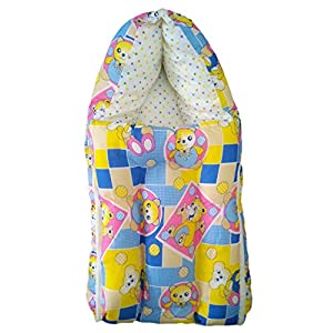 O&O Baby Bedding Set Cum Wrap - Blue & Yellow