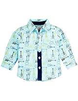 Infant Boys Full Sleeves Printed Shirt, Sky Blue (0-6 Months)