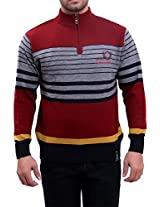 Lamode Red And Grey Patterned Sweater(LA00234XL-R_Red_X-Large)