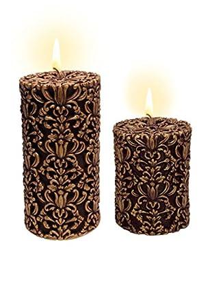 Volcanica Set of 2 Burgundy & Gold Paramount Pillar Candles